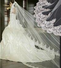 Velo de novia largo de 3 metros, velo de novia de 3 M con borde de encaje, sin peine, venta al por mayor