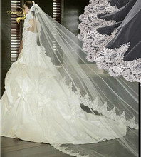 Wholesale 3 Meter Tulle Long Cathedral Wedding Veil Full Lace Trim Appliqued 3M Bridal Veil For Bride veu de noiva longo No Comb