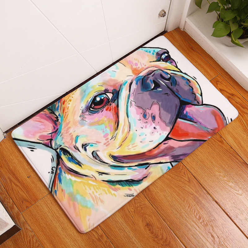 Lovely Painting Dogs Print Carpets Anti-slip Door Kitchen Floor Mat Outdoor Rugs Welcome Mats Decoration for Home Front Door