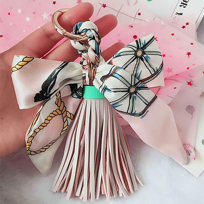 High Quality Fashion Scarves Key Holder Ribbon Bowknot Exquisite PU Leather Tassels Keychains Women Bag Charm Pendant