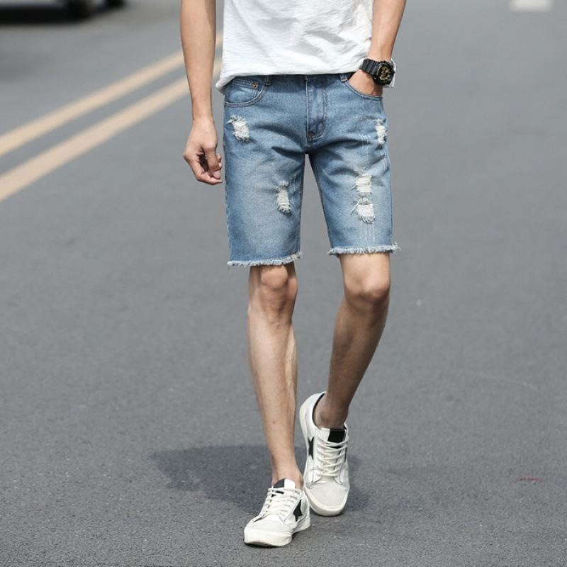 Summer Thin Section With Holes Denim Shorts Male Fifth Pants Korean-style Trend Ripped Jeans Slim Fit 5 Pants Shorts 2019