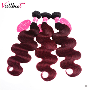 Vallbest Ombre Body Wave Bundles T1B/99J Brazilian Hair Weave Bundles 2 Tone 8-26Inch 100% Human Hair Bundles Remy Hair 100g/Pcs