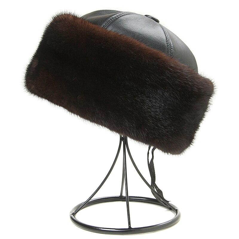 Hiver casquettes hommes Bomber chapeaux réel vison fourrure casquette extérieur chaud épaissir homme casquette rétro élégant aviateur chapeau russe en cuir avec fourrure