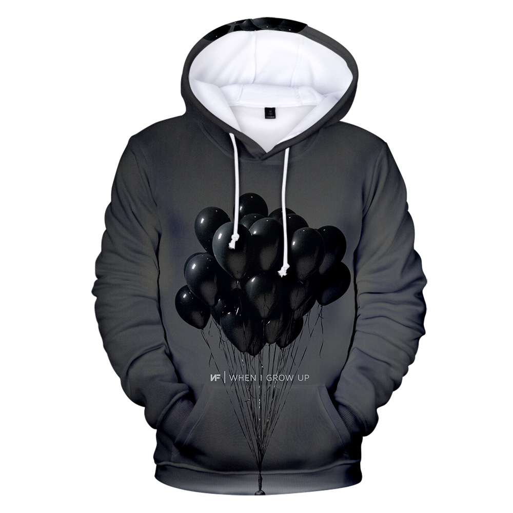 NF 3D Hoodie Popular Male Female NF Fashion 3D Sweatshirt New Print Hoodie Oversized Pullover Cool Dark Gray Top