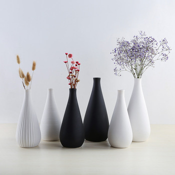 Nordic Modern Simple Ceramic Vase Tabletop Black White Dried Flower Containers Home Decor Desktop Decorative Vase  Wedding Gifts 1