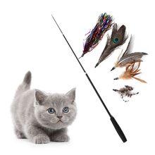 Brinquedo do gato do animal de estimação três-seção telescópica teaser vara do gato engraçado varinha do gato brinquedo de substituição do gato brinquedo da pena cabeça do gatinho brinquedo interativo