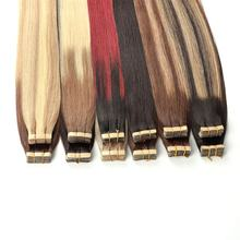 Straight Tape In Human Hair Extensions Natural Seamless Skin Weft 14