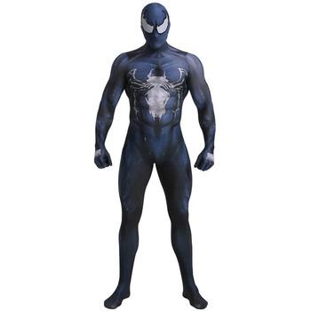 Venom Symbiote Spider man Cosplay Costume 3D Print superhero costumes Adult Kids Movie Venom Symbiote Spider man Bodysuit tanie i dobre opinie Kombinezony i pajacyki Anime Unisex Dla dorosłych Zestawy Syntetyczny Kostiumy