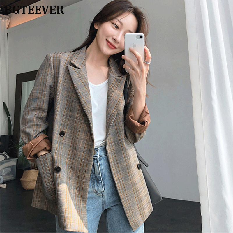 Vintage Plaid Double Breasted Women Blazer Oversized Full Sleeve Grid Female Suit Coat Elegant Autumn Women Jackets Outwear 2019