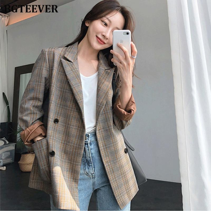 Vintage Plaid Double Breasted Women Blazer Oversized Full Sleeve Grid Female Suit Coat Elegant Autumn Women Jackets Outwear 2019