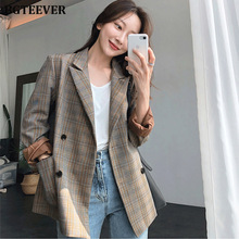 Vintage Plaid Double Breasted Women Blazer Oversized Full Sleeve Grid