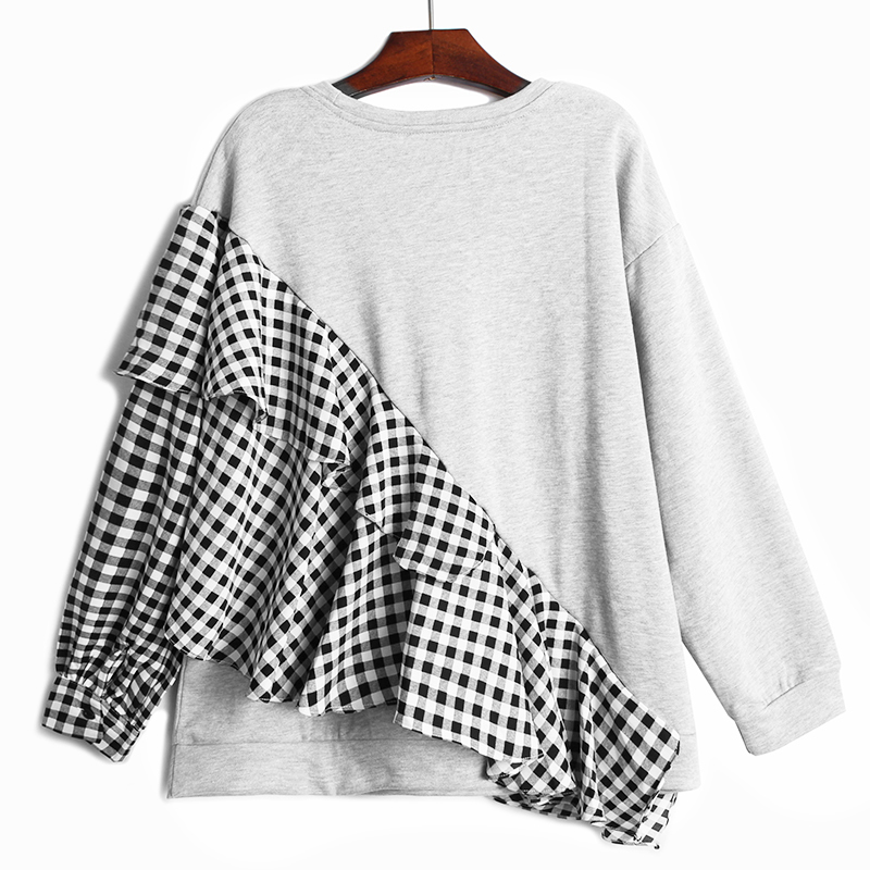 [EAM] Loose Fit Gray Plaid Ruffles Sweatshirt New Round Neck Long Sleeve Women Big Size Fashion Spring Autumn 2020 1DA145 2