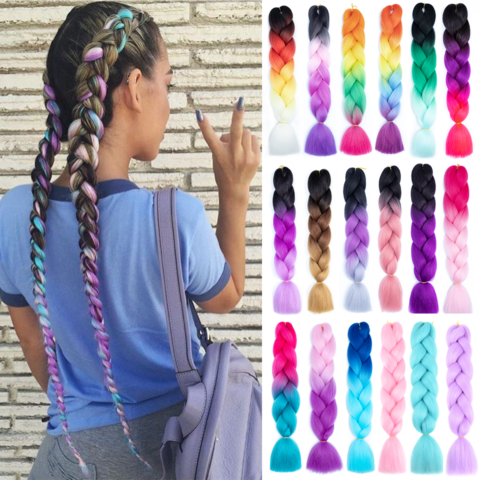 Expression Crochet Jumbo Braids Hair Colored 24 Inch Fake Synthetic Braiding Hair Extensions for Braids 100g Reshowbeauty