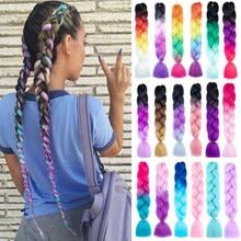 Expressão crochê jumbo tranças de cabelo colorido 24 Polegada falso sintético trança extensões de cabelo para tranças 100g reshowbeauty