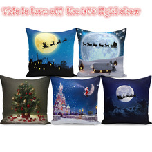 Soft Pillow Christmas Cushion Cover Living Room Sofa Case With LED Lights Decorations Pillowcase