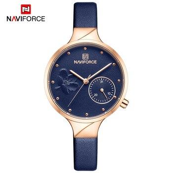 NAVIFORCE Women Watches Top Brand Luxury Fashion Female Quartz Wrist Watch Ladies Leather Waterproof Clock Girl Relogio Feminino 7