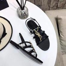 Kobiety prawdziwy sandał skórzany klasyka marka Metal YL Logo kobiety sandały na płaskim obcasie z wystającym palcem okrągłe głowy sandał rozmiar 34-43 tanie tanio LYTYL PRAWDZIWA SKÓRA Kożuch CN (pochodzenie) podstawowe Szpilki Otwarta Skóra bydlęca Mieszkanie (≤1cm) Ślub pasek z klamrą