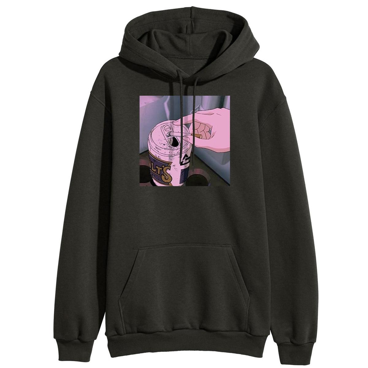 Sad Anime Vaporwave Hoodie Women Winter Hooded Sweatshirts Aesthetic Japan Otaku Hoodie Casual Sweatshirt Fleece Pullover