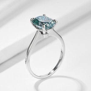 Image 4 - Kuololit Green blue Solitaire Ring for Women 10K Solid Gold Ring Oval Moissanite Lab Diamond for Wedding Engagement Fine Jewelry