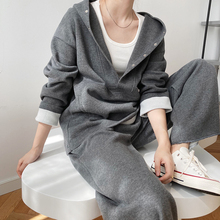 Two-Piece Suit Sweatpants Hooded Yeeloca Khaki Black Autumn Winter Casual Elastic-Waist