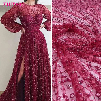 African Lace Fabric 2020 heavy beaded embroidered net lace fabric african tulle lace with beads for red wedding dress SL491
