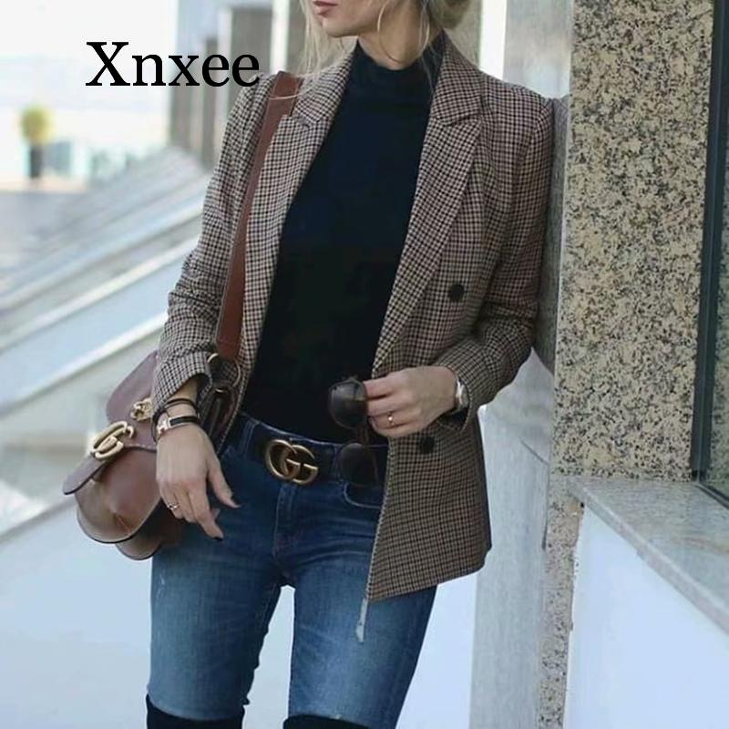 2020 British style Vintage Casual Plaid Blazer Women Fashion Double Breasted Office Ladies Jacket Coat Female Notched Collar
