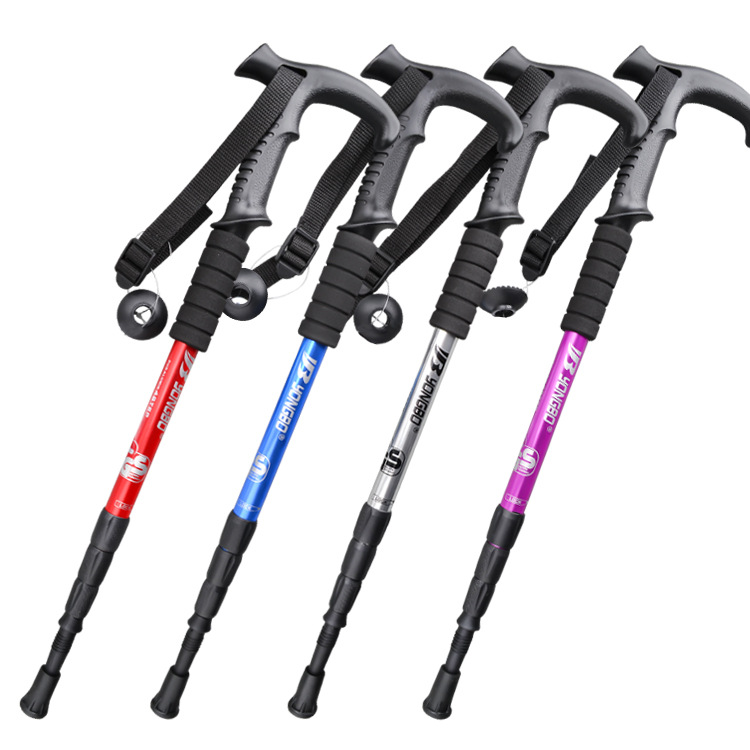 Shock Resistance Walking Sticks Telescopic Trekking Hiking Poles Ultralight Walking Canes With Rubber Tips Protectors Crutch
