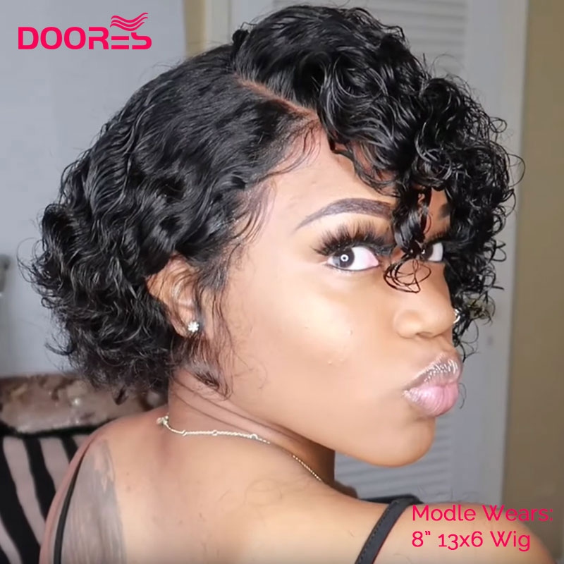 Pixie Cut Wig Bob Lace Front Human Hair Wigs 150% Spanish Curly Human Hair Wig Remy Lace Closure Wig Pre Plucked Doores Hair