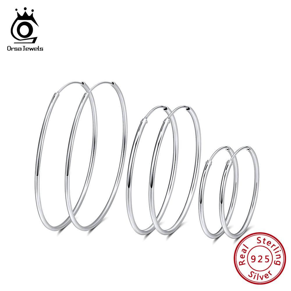 ORSA JEWELS Genuine 925 Sterling Silver Hoop Earrings Big Circle 30cm 4cm 50cm Round Earring Women Silver Jewelry Aretes OSE146