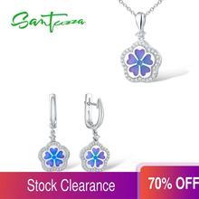 Santuzza Zilveren Sieraden Set Kleurrijke Enamel Oorbellen Hangende Ketting 925 Sterling Zilver Vrouwen Mode Sieraden Set Handgemaakte