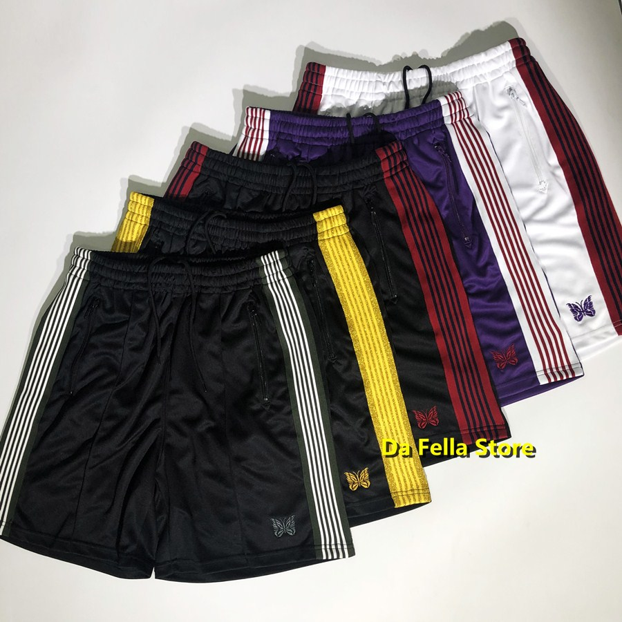 AWGE Needles Shorts 2020 New Men Women Hip Hop High Quality Board Shorts Butterfly Embroidery Striped Edges Needles Breechcloth