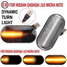 Luz de marcador lateral do carro dinâmico led transformar a luz do sinal para nissan tiida c11 nota e11 ne11 micra k12 np300 navara d40 qashqai j10