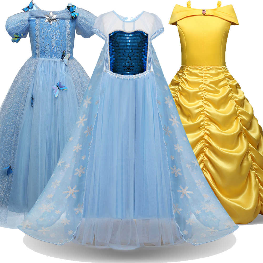 Vestido de rainha, cosplay rainha de neve vestido meninas elsa vestido para meninas princesa vestidos fantasia crianças belle vestido para festa menina