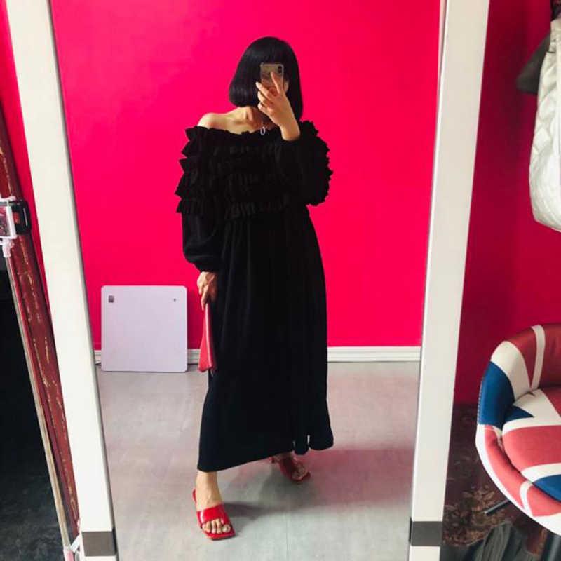 [Eam] 女性黒rufflfesスプリットジョイントビッグサイズドレス新スラッシュネック長袖ルーズフィットファッション春秋2020 1DB294