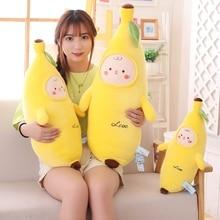 Hot New 1pc 40/55/70cm Soft Fruit Yelllow Cute Banana Plush Pillow Staffed Emoji Cushion Plushie Toys for Kids Christmas Present