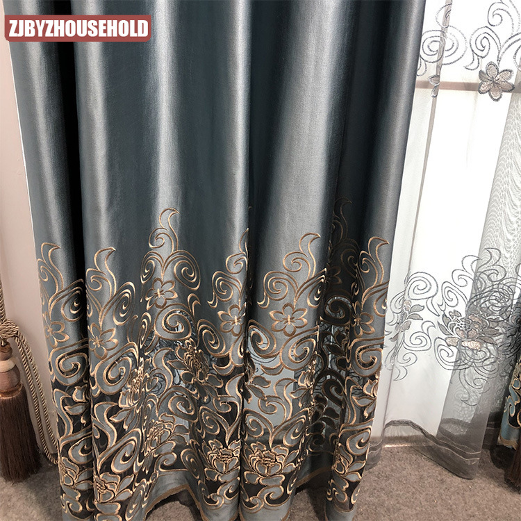 High-Precision Hollow Out Embroidery Curtain for Living Room Bedroom High-End European Style Curtain