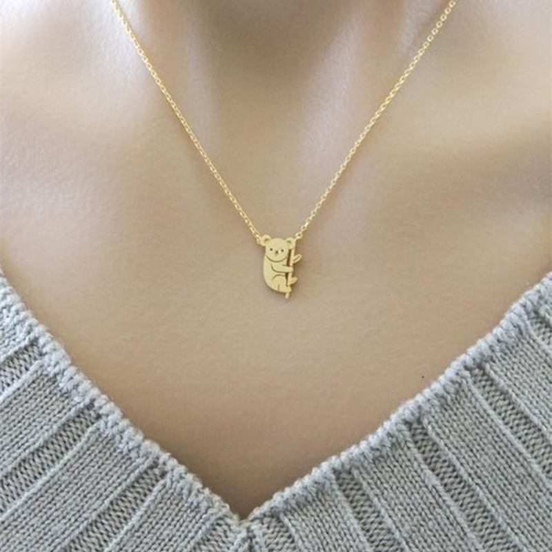 Aussie Animal <font><b>Koala</b></font> Charm Necklace Baby <font><b>Bear</b></font> Kolye <font><b>Jewelry</b></font> Collar Colar Stainless Steel Gold Color Chain Best Friend Gift Bijoux image