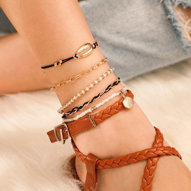 5Pcs Bohemian Beaded Knit Ankle Bracelets Set Multilayer Shell Charm Chain Bracelets Women Anklet Foot Jewelry Gift