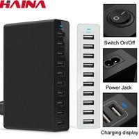 Stazione di ricarica Multi USB da 50W ricarica rapida caricatore a 10 porte 5V10A stazione di ricarica rapida a più porte per telefoni EU US UK Plug