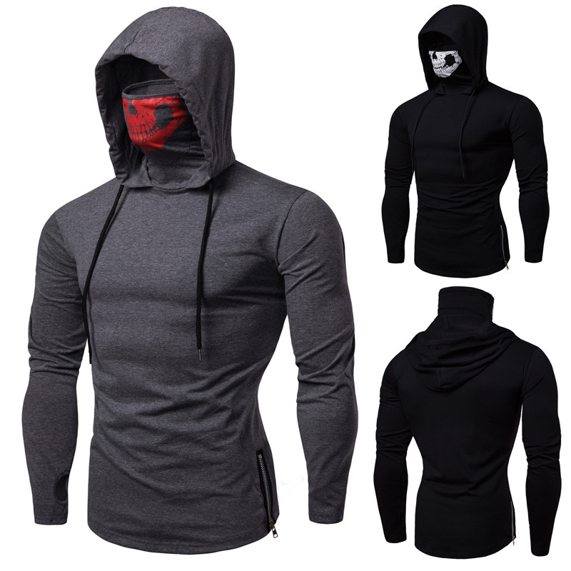 New men's stretch fitness men's ninja uniform hooded long-sleeved T-shirt call of duty skull mask high-quality long-sleeved image
