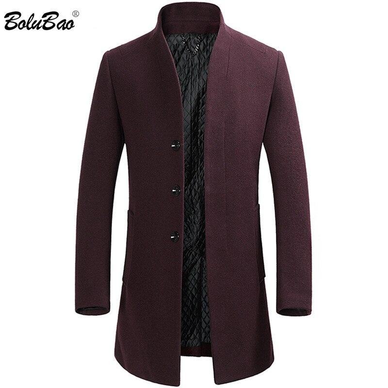 BOLUBAO Winter New Long Wool Blend Coats Men's Brand Men Business Casual Overcoat Slim Trendy Wild Wool Coat Male