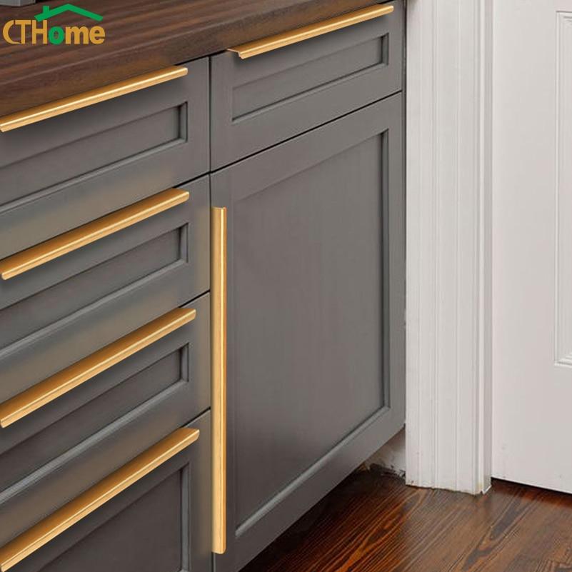 Black Gold Hidden Cabinet Handle Aluminum Alloy Kitchen Cupboard Pulls Drawer Knobs Bedroom Door Furniture Handle Hardware