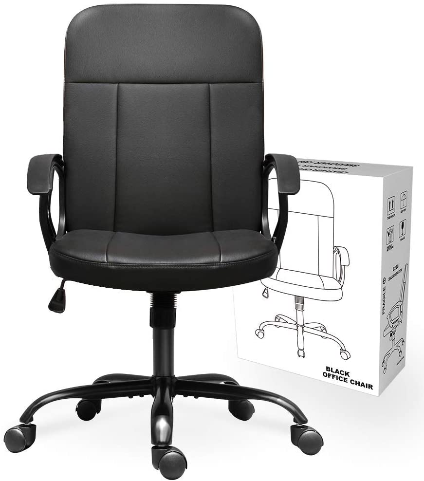 Office Chair, Mid Back Leather Desk Chair, Computer Swivel Office Task Chair, Ergonomic Executive Chair with Armrests 1
