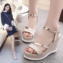 Купить с кэшбэком 2019 Real Pumps Ladies Shoes Heels Freeshipping2019 Fish Head Wedge Heel Platform Waterproof Wild Word Super High Women's Shoes