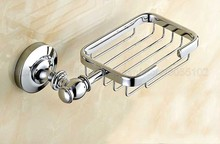 Polished Chrome Soap Dishes Wall Mounted Dish Holder Box Basket Bathroom Accessories zba810
