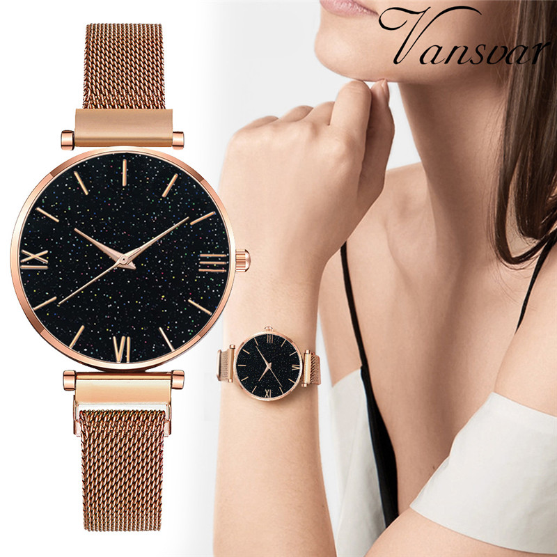 Fashion Rose Gold Magnet Ladies Wristwatch Luxury Women Watches Mesh Brand 2019 New Starry Sky Roman Numeral Gift Clock mujer