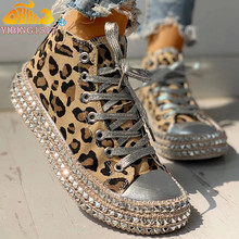 Sexy Leopard High Top Sneakers Women Fashion Bordered Rivet Flats