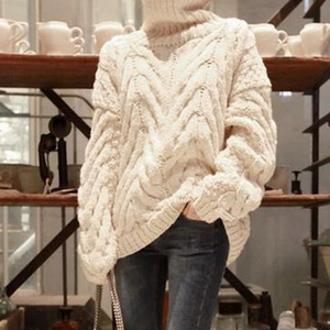 Image 5 - TWOTWINSTYLE Autumn Sweater For Women Long Sleeve Turtleneck Korean Warm Thick Female Sweaters Oversized Fashion New 2020