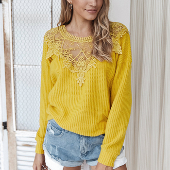 Elegant Lace Stitching Solid Color Women Sweater 2020 Autumn Winter Long Sleeve O Neck Casual Streetwear Sweater Thin Top solid guipure lace lantern sleeve sweater long sleeve sweater women top