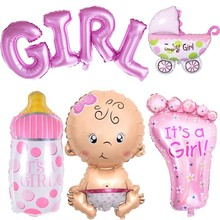 Baby Birthday Theme Party Decorated Conjoined Aluminum Balloon Boy/girl Letter Foil Inflatable 5 Pieces / Set
